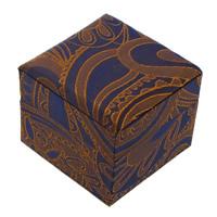 сатин Коробочка для одного кольца, с Губка & картон, Куб, 60x50mm, 24ПК/Лот, продается Лот