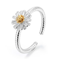 Brass Cuff Finger Ring Daisy plated two tone nickel lead   cadmium free 10mm US Ring Size:5.5