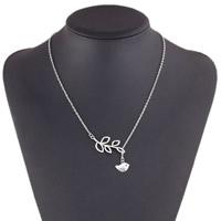 Ожерелья из металла, цинковый сплав, с железный цепи, с 5cm наполнитель цепи, Листок, плакированный цветом под старое серебро, Овальный цепь, не содержит никель, свинец, 400mm, длина:Приблизительно 15.5 дюймовый, 5пряди/сумка, продается сумка