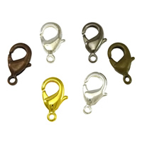 Brass Lobster Clasp, plated, more colors for choice, lead & cadmium free, 9x15x3.50mm, Hole:Approx 1mm, 500PCs/Bag, Sold By Bag