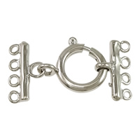 Brass Spring Ring Clasp, platinum color plated, with connector bar & 4-strand, nickel, lead & cadmium free, 30x15.5x2mm, 16.5x14.5x3mm, 9x15.5x2mm, Hole:Approx 1.5mm, 100Sets/Lot, Sold By Lot