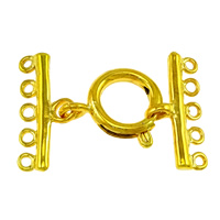 Brass Spring Ring Clasp gold color plated with connector bar   5-strand nickel lead   cadmium free 29x19.5x2mm 9x19.5x2mm 16x14x3mm Hole:Approx 1.5mm 100Sets/Lot