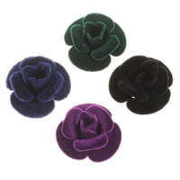 Aluminium bloem kralen, met fluwelen bedekt, meer kleuren voor de keuze, nikkel, lood en cadmium vrij, 27x15mm, Gat:Ca 2mm, 50pC's/Bag, Verkocht door Bag