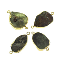Australia Jade Connector, with iron bail, gold color plated, natural & 1/1 loop, 16x35x6mm-20x40x8mm, Hole:Approx 2mm, 10PCs/Bag, Sold By Bag