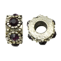 Rhinestone Spacers, Zinc Alloy, Donut, antique silver color plated, with rhinestone, nickel, lead & cadmium free, 7x14x14mm, Hole:Approx 5mm, 100PCs/Lot, Sold By Lot