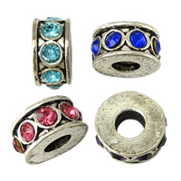 Rhinestone Spacers, Zinc Alloy, Donut, antique silver color plated, with rhinestone, more colors for choice, nickel, lead & cadmium free, 6x12x12mm, Hole:Approx 4.5mm, 200PCs/Lot, Sold By Lot