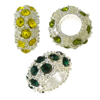 Rhinestone European Beads, Zinc Alloy, Rondelle, silver color plated, without troll & with rhinestone, more colors for choice, nickel, lead & cadmium free, 6x11x11mm, Hole:Approx 5mm, 100PCs/Lot, Sold By Lot