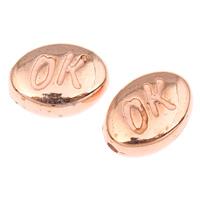Koraliki Biżuteria akrylowe, Akryl, Płaski owal, słowo OK, oryginalny kolor, 10x7.50x4mm, otwór:około 1mm, około 2495komputery/torba, sprzedane przez torba