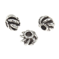 Zinc Alloy Jewelry Beads antique silver color plated corrugated lead   cadmium free 8x5mm Hole:Approx 1.5mm 100G/Bag