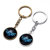 Zinc Alloy Key Chain, with iron ring & Glass, Flat Round, plated, time gem jewelry, more colors for choice, nickel, lead & cadmium free, 25x80mm, Hole:Approx 26mm, Length:Approx 3 Inch, 12Strands/Bag, Sold By Bag