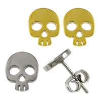 Stainless Steel Stud Earrings, Skull, plated, more colors for choice, 7x9x11mm, Sold By Pair
