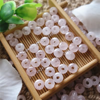 Natural Rose Quartz Beads, Flat Round, 8mm, Hole:Approx 2mm, 30PCs/Bag, Sold By Bag