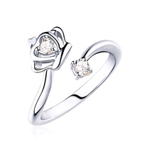 925 Sterling Silver Cuff Finger Ring Crown open   with cubic zirconia 15x20mm US Ring Size:8