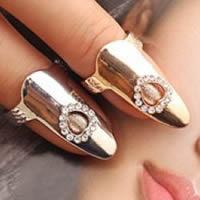 Цинковый сплав ногтей палец кольцо, цинковый сплав, Сердце, Другое покрытие, со стразами, Много цветов для выбора, не содержит никель, свинец, 28x10mm, размер:3, продается PC