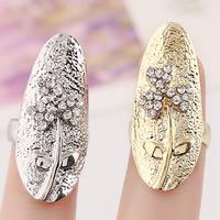 Цинковый сплав ногтей палец кольцо, цинковый сплав, Форма цветка, Другое покрытие, со стразами, Много цветов для выбора, не содержит никель, свинец, 30x13mm, размер:3, продается PC
