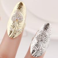 Цинковый сплав ногтей палец кольцо, цинковый сплав, Сердце, Другое покрытие, со стразами, Много цветов для выбора, не содержит никель, свинец, 29x13mm, размер:3, продается PC