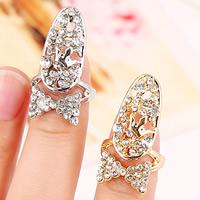Цинковый сплав ногтей палец кольцо, цинковый сплав, Бантик, Другое покрытие, со стразами, Много цветов для выбора, не содержит никель, свинец, 28x15mm, размер:2, продается PC