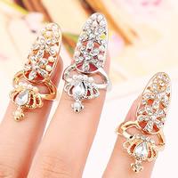 Цинковый сплав ногтей палец кольцо, цинковый сплав, с ABS пластик жемчужина & Стеклянный, Корона, Другое покрытие, граненый & со стразами, Много цветов для выбора, не содержит никель, свинец, 35x15mm, размер:2, продается PC