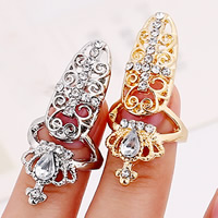 Цинковый сплав ногтей палец кольцо, цинковый сплав, с Стеклянный, Корона, Другое покрытие, граненый & со стразами, Много цветов для выбора, не содержит никель, свинец, 55x18mm, размер:2, продается PC