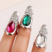 Цинковый сплав ногтей палец кольцо, цинковый сплав, с Стеклянный, Каплевидная форма, плакирован серебром, граненый & со стразами, Много цветов для выбора, не содержит никель, свинец, 30x12mm, размер:2, продается PC