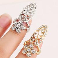 Цинковый сплав ногтей палец кольцо, цинковый сплав, Форма цветка, Другое покрытие, эмаль & со стразами, Много цветов для выбора, не содержит никель, свинец, 31x15mm, размер:2, продается PC