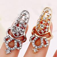 Цинковый сплав ногтей палец кольцо, цинковый сплав, Корона, Другое покрытие, со стразами, Много цветов для выбора, не содержит никель, свинец, 55x18mm, размер:2, продается PC