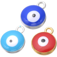 Evil Eye Pendants, Zinc Alloy, Flat Round, plated, enamel, more colors for choice, nickel, lead & cadmium free, 12x15mm, Hole:Approx 1.2mm, 500PCs/Lot, Sold By Lot
