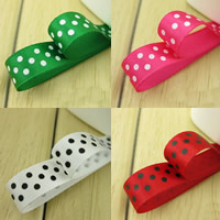 Polyester Ribbon, with round spot pattern, more colors for choice, 9mm, 50m/Bag, Sold By Bag