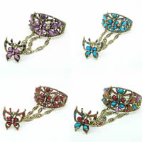 Zinc Alloy Bracelet Ring, with Resin, Butterfly, antique bronze color plated, faceted & with rhinestone, more colors for choice, nickel, lead & cadmium free, 60x50mm, Inner Diameter:Approx 60mm, US Ring Size:7-9, Sold Per Approx 7.5 Inch Strand