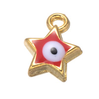 Evil Eye Pendants, Zinc Alloy, Star, real gold plated, enamel, nickel, lead & cadmium free, 8x11mm, Hole:Approx 1.2mm, 500PCs/Lot, Sold By Lot