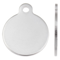 Stainless Steel Tag Charm, Flat Round, laser pattern, original color, 18x22x1mm, Hole:Approx 1.5mm, 50PCs/Bag, Sold By Bag