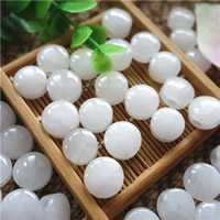 Jade White Beads Flat Round natural 12mm Hole:Approx 3mm 10PCs/Bag