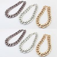 CCB Ожерелья, Пластик с медным покрытием, с 5cm наполнитель цепи, Другое покрытие, твист овал, Много цветов для выбора, 420mm, Продан через Приблизительно 16.5 дюймовый Strand