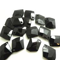 Wisiorki z czarnym agatem, Agat czarny, Piątokąt, Naturalne, fasetowany, 26x32x11mm, otwór:około 1mm, 10komputery/torba, sprzedane przez torba