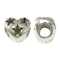 Zinc Alloy European Beads, Heart, silver color plated, with star pattern & without troll & hollow & blacken, nickel, lead & cadmium free, 11x10x8.50mm, Hole:Approx 4x4.5mm, 300PCs/Lot, Sold By Lot