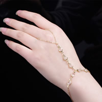 Zinc Alloy Bracelet Ring, with iron chain & Crystal, with 5cm extender chain, gold color plated, oval chain & faceted, nickel, lead & cadmium free, 180mm, Length:Approx 7 Inch, 3Strands/Bag, Sold By Bag