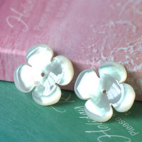 Hair Accessories DIY Findings, White Shell, Flower, natural, 15mm, 10PCs/Lot, Sold By Lot