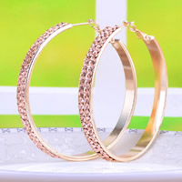Zinc Alloy Hoop Earring, stainless steel post pin, Donut, plated, with Czech rhinestone, more colors for choice, nickel, lead & cadmium free, 51x51mm, 10Pairs/Lot, Sold By Lot