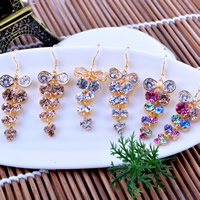 Rhinestone Earring, Zinc Alloy, stainless steel earring hook, gold color plated, with Czech rhinestone, more colors for choice, nickel, lead & cadmium free, 15x45mm, 10Pairs/Lot, Sold By Lot