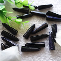 Natural Blue Goldstone Beads, pendulum, half-drilled, 8x30mm, Hole:Approx 1mm, 10PCs/Bag, Sold By Bag