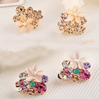 Zinc Alloy Clip Earring, with Cats Eye, stainless steel earring clip, Flower, gold color plated, with Czech rhinestone, more colors for choice, nickel, lead & cadmium free, 20x17mm, 10Pairs/Lot, Sold By Lot