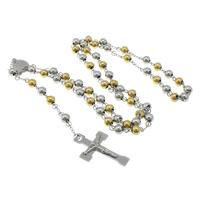 Четки Ожерелье, нержавеющая сталь, Инсус крест, Другое покрытие, двухцветный, 29.5x44.5x4mm, 6.5x8mm, длина:Приблизительно 30 дюймовый, 5пряди/Лот, продается Лот
