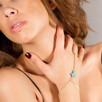 Turquoise Bracelet Ring, with iron chain, Cross, gold color plated, nickel, lead & cadmium free, 300mm, Length:Approx 7.5 Inch, 3Strands/Bag, Sold By Bag