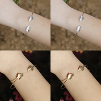 Brass Cuff Bangle, Leaf, plated, more colors for choice, nickel, lead & cadmium free, 60mm, Inner Diameter:Approx 60mm, Length:Approx 7.5 Inch, 3PCs/Bag, Sold By Bag