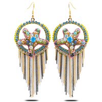 Fashion Fringe Earrings, Zinc Alloy, with Crystal, brass earring hook, plated, faceted & with rhinestone, nickel, lead & cadmium free, 34x92mm, 4Pairs/Lot, Sold By Lot