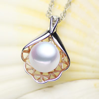 Freshwater Pearl Pendants, with Brass, Button, silver color plated, natural, white, 10-11mm, Hole:Approx 2-5mm, Sold By PC