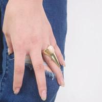 цинковый сплав кольцо, с Акрил, плакирован золотом, не содержит никель, свинец, 17mm, размер:7, 3ПК/сумка, продается сумка