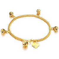 Brass Bracelet, gold color plated, charm bracelet & twist oval chain, nickel, lead & cadmium free, 3mm, Length:Approx 6.5 Inch, 3Strands/Bag, Sold By Bag