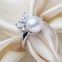 Freshwater Pearl Finger Ring with Brass Crown silver color plated natural   adjustable   with cubic zirconia white 9-10mm US Ring Size:7-9