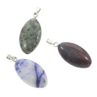 Mixed Gemstone Pendants, with brass bail, natural, 13x27x6mm, Hole:Approx 5x2mm, 12PCs/Box, Sold By Box
